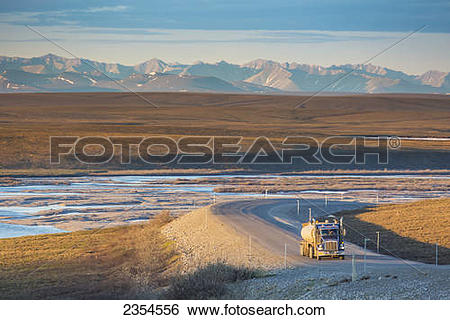 Stock Images of Semi tractor trailer travels the James Dalton.
