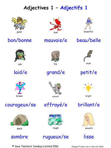 Adjectives in French Word Searches (18 French adjectives wordsearches).