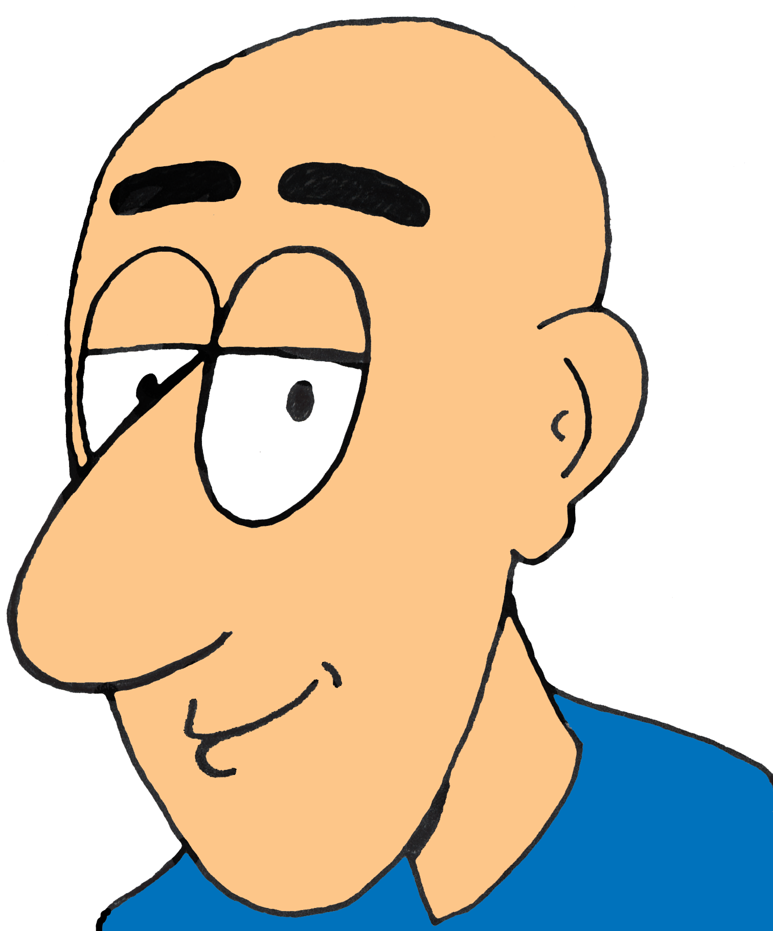 Bald Man Cartoon Clipart.