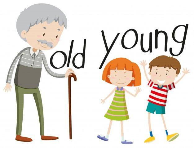 Opposite adjectives old and young.