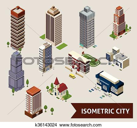 Clipart of Isometric City Isolated Icons k36143024.
