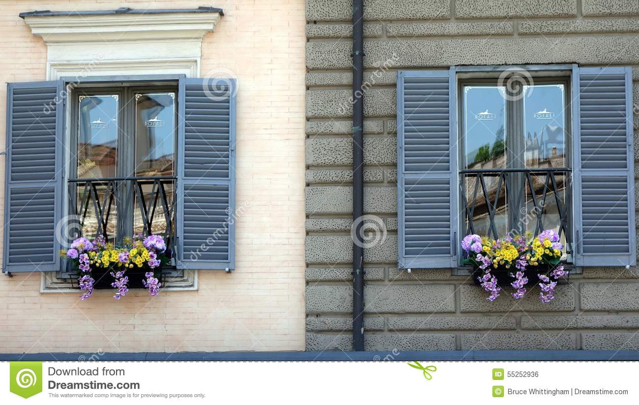 Flower Boxes In Windows, Rome Stock Photo.