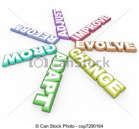 Drawing of Change Adapt Evolve 3D Words on White Background.