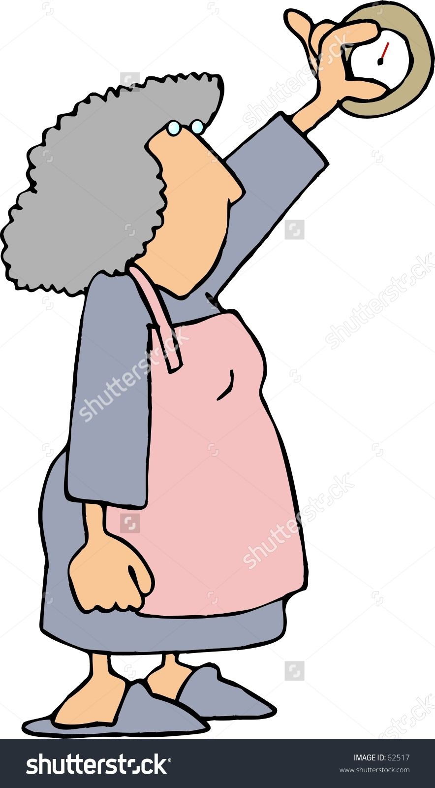Clipart Illustration Of A Woman Adjusting A Thermostat.