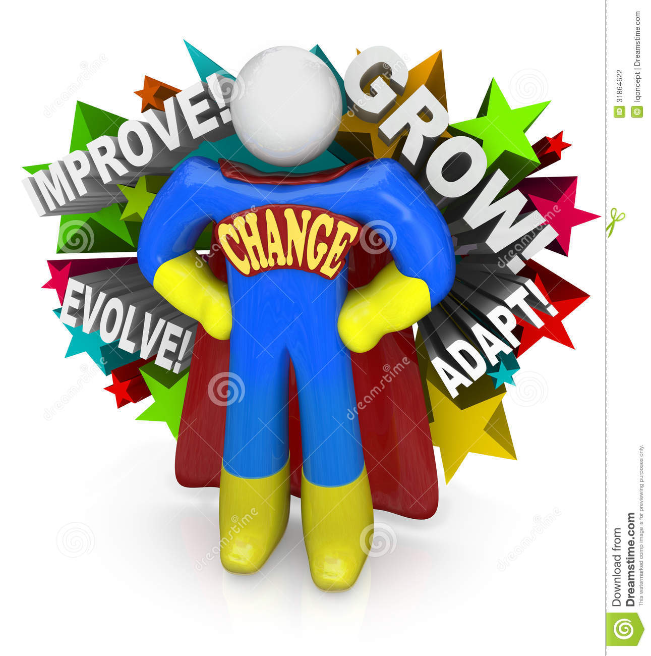 Change Superhero Helps You Adapt And Succeed In Life Stock.