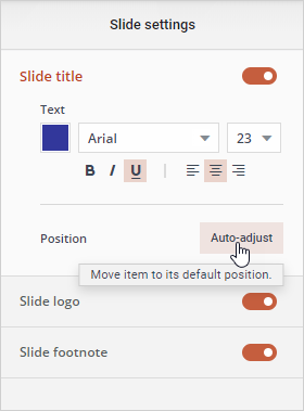 How to add, adjust or hide slide logo, title and footnote.