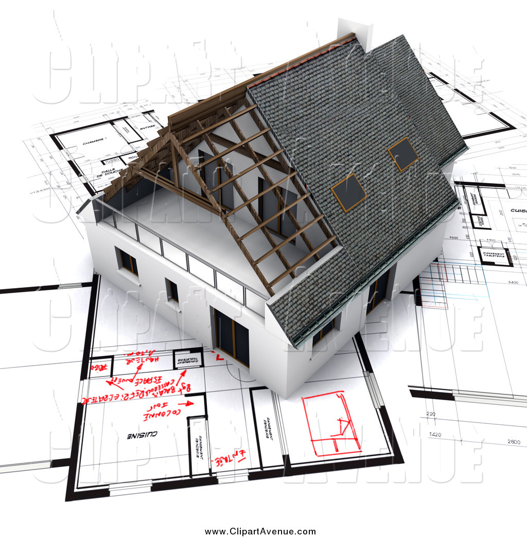 Avenue Clipart of a 3d Home on Blueprints with Red.