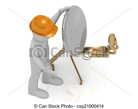 Clipart of 3d man in orange helmet adjusts the gold satellite dish.