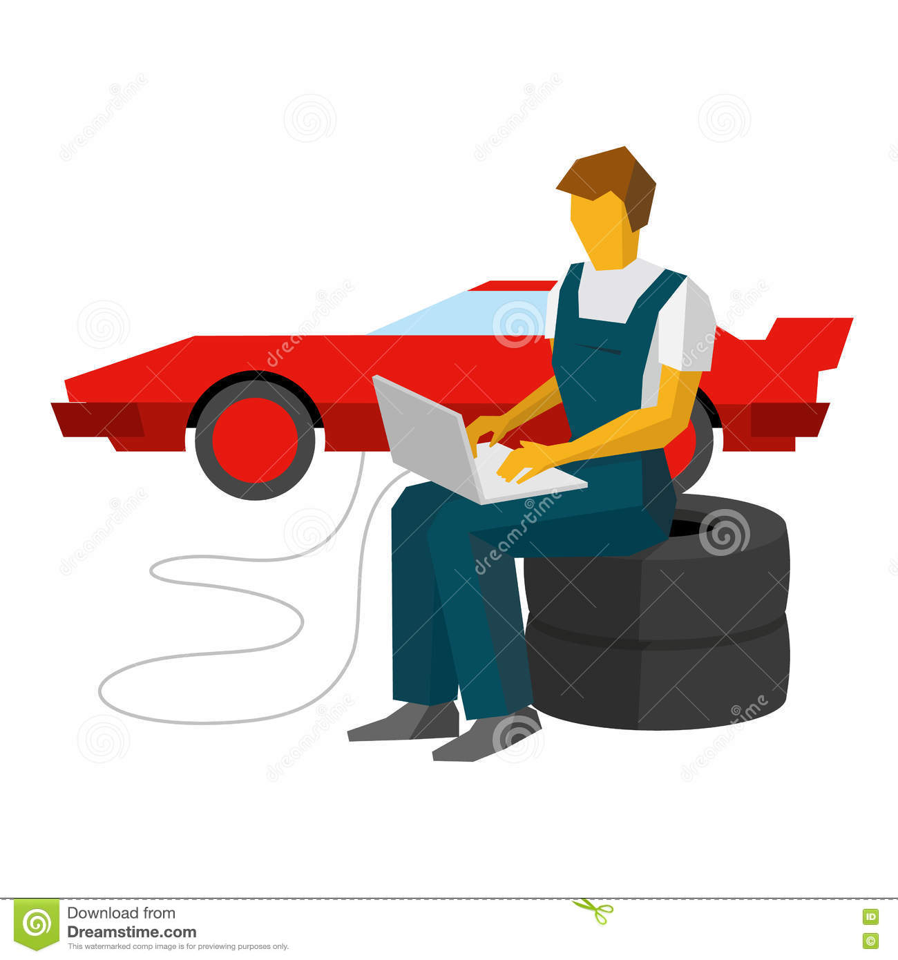 Car Mechanic Adjusts Sportcar With Laptop. Service Station Worke.
