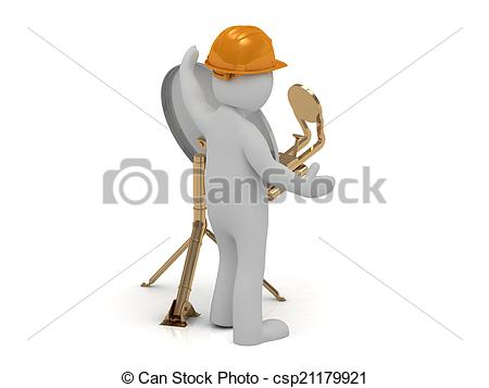 Clip Art of 3d man adjuster in an orange helmet adjusts the.