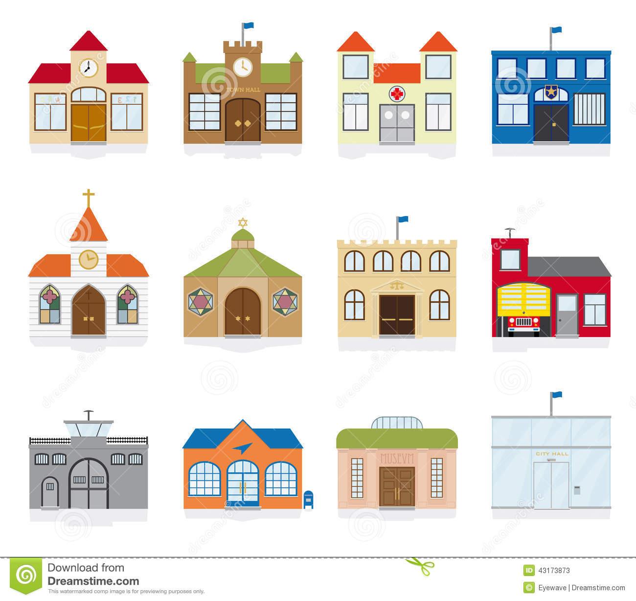 Public Building Icons Vector Illustration Stock Illustration.