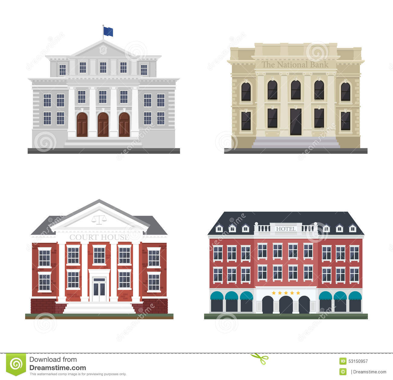 Set The City Administration Building And The Hotel Stock Vector.