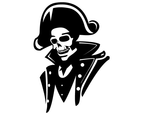 Admiral Skull Vector Image.
