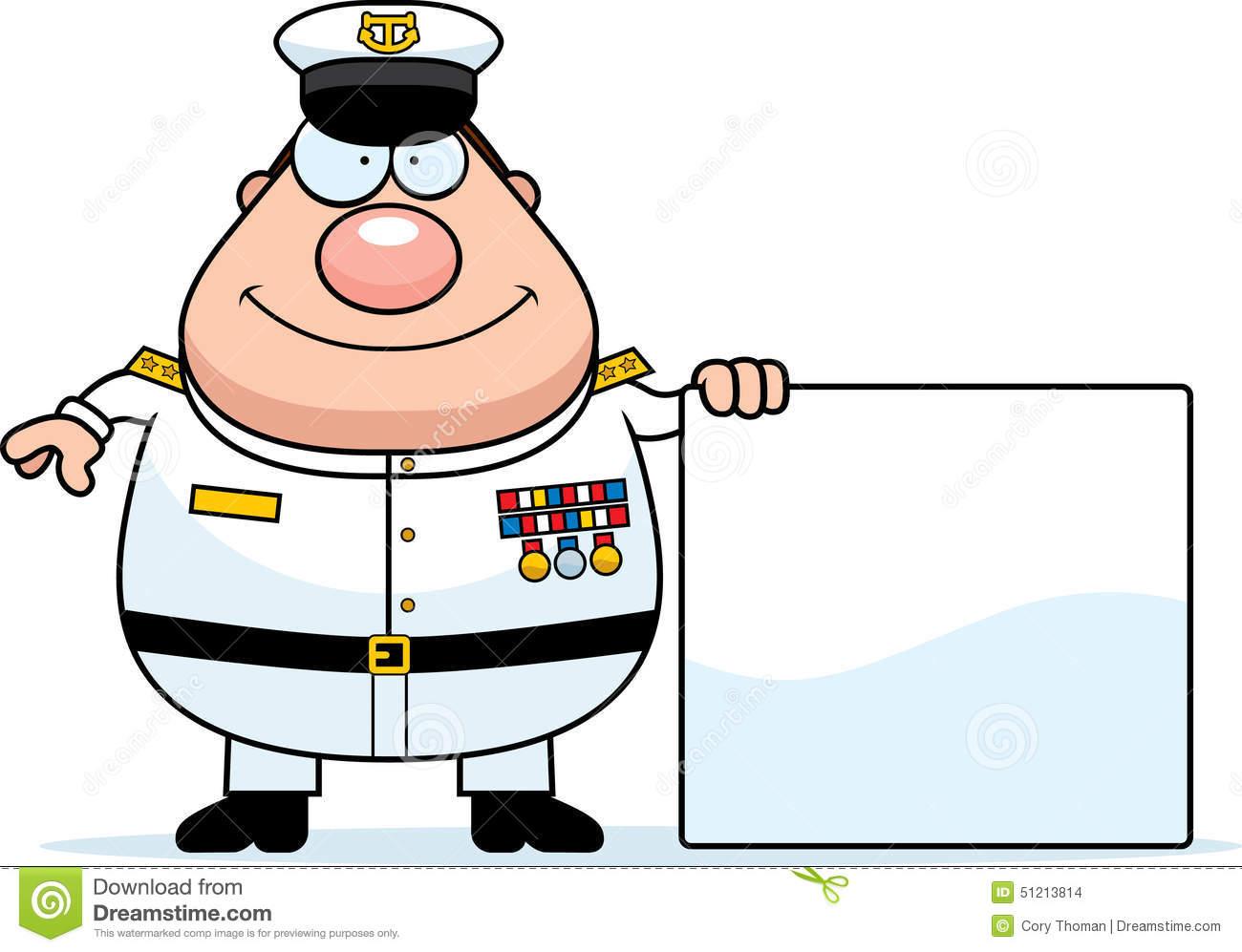 Cartoon Navy Admiral Sign Stock Vector.
