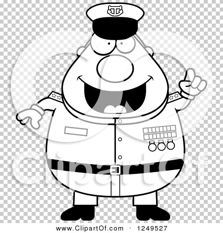 Clipart of a Black and White Smart Chubby Navy Admiral Man with an.