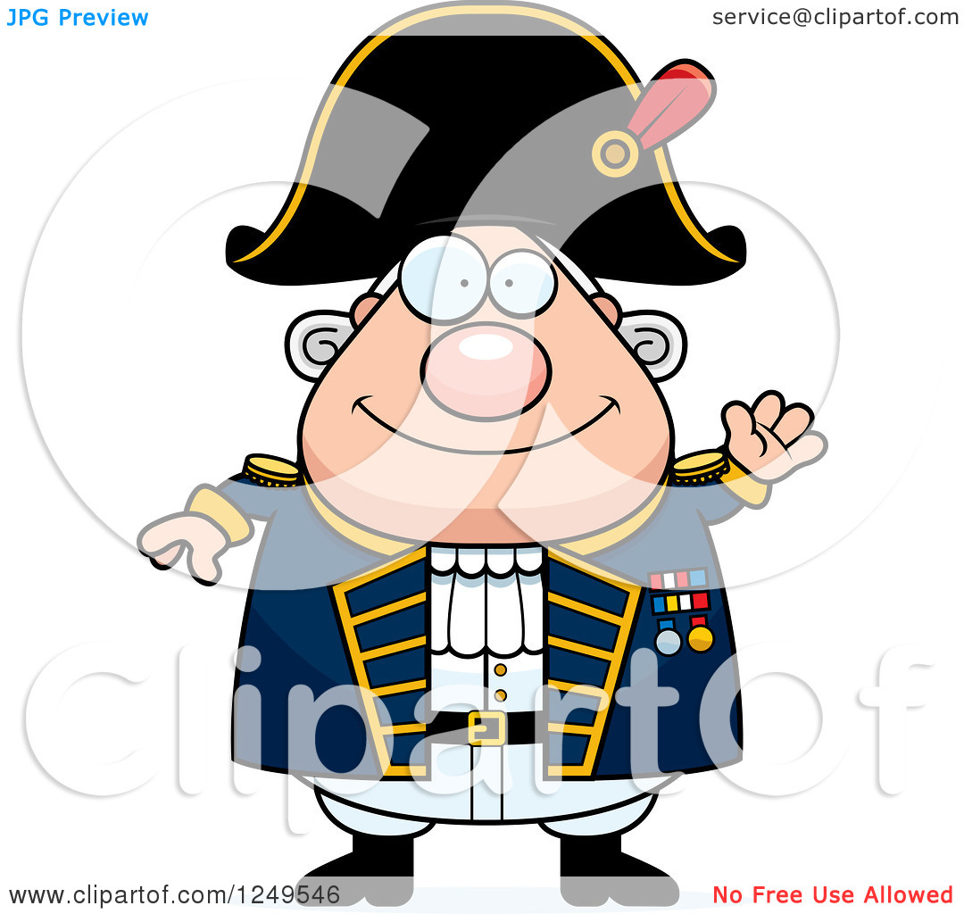 Clipart of a Friendly Waving Chubby Old Admiral Man.