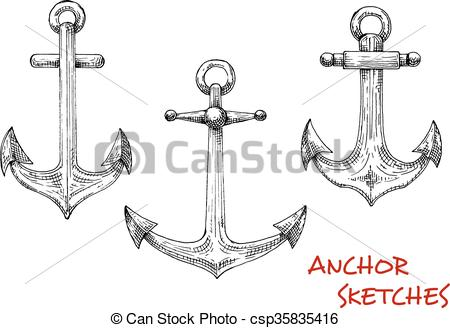 Vector Clip Art of Vintage isolated admiralty anchors sketches.