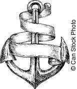 Blue Anchor Sketch Clipart.