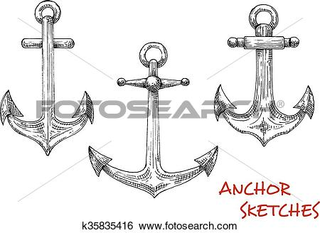 Clip Art of Vintage isolated admiralty anchors sketches k35835416.