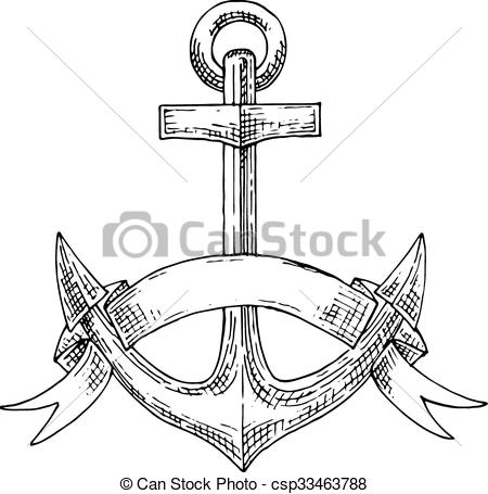Vector of Nautical admiralty anchor with ribbon sketch.