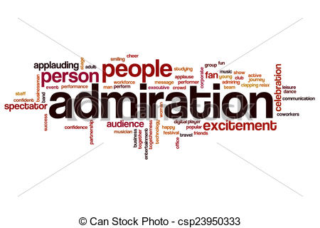 Drawings of Admiration word cloud concept with fan success related.