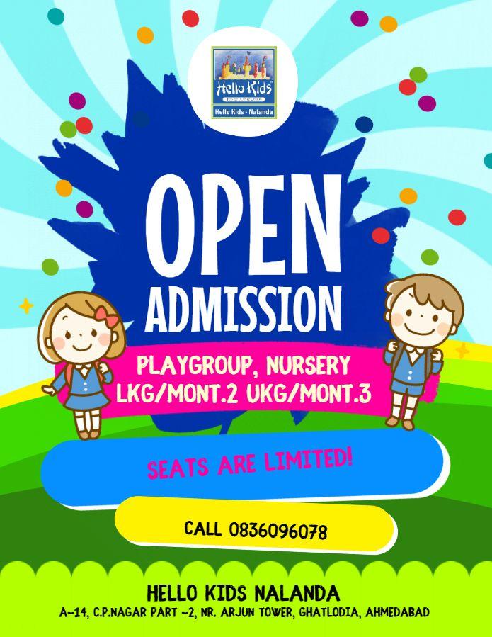 Hello Kids Nalanda Ghatlodia Ahmedabad Admission Open 2019.