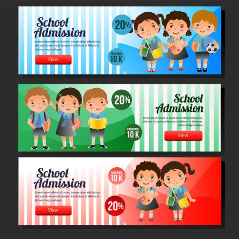 colorful school admission sale banner set.