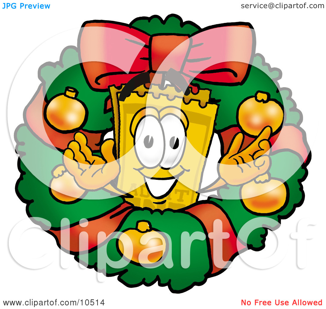 Clipart Picture of a Yellow Admission Ticket Mascot Cartoon.