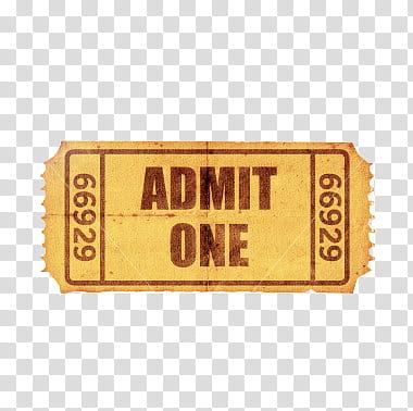 Ticket s, Admit One ticket art transparent background PNG.