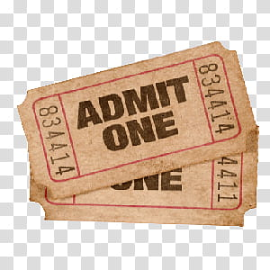 Ticket s, two Admit One tickets transparent background PNG.