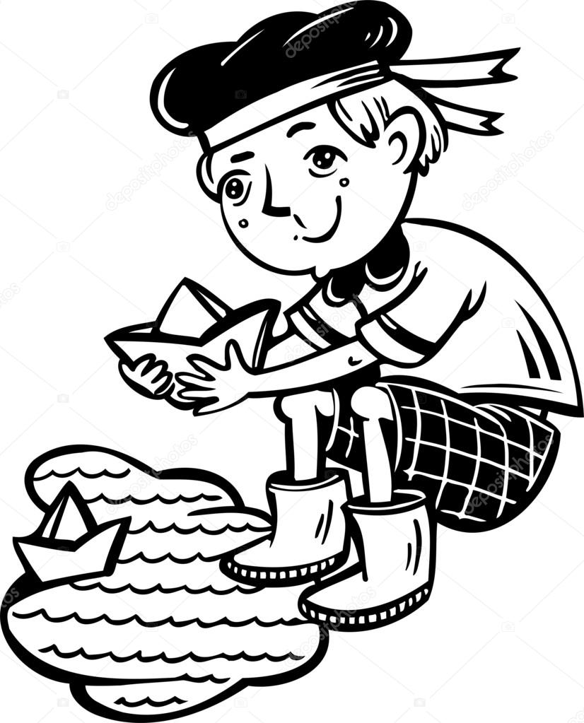 Boy in a sailor admits paper boats.Children. — Stock Vector.