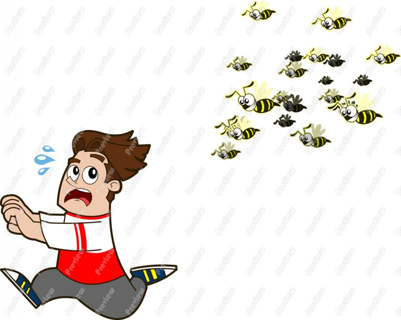 Man Chased By Wasps Character Clip Art.