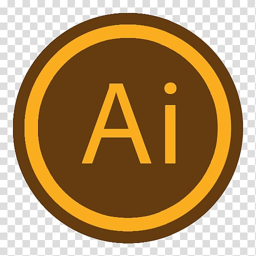 Round brown and orange Adobe Ai logo, area trademark symbol.