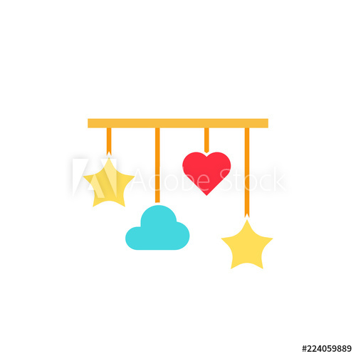 Baby crib mobile icon. Clipart image isolated on white.