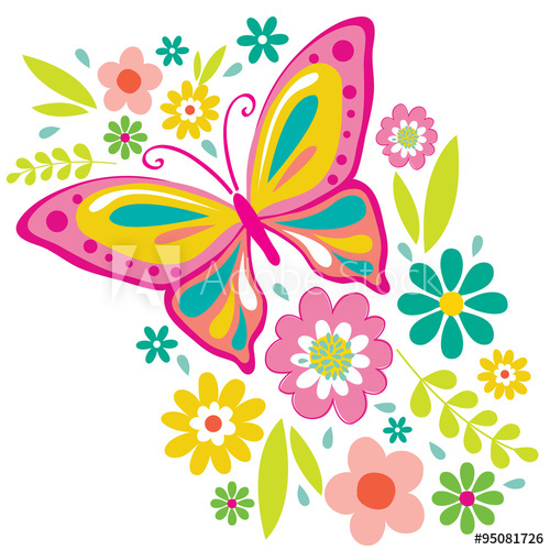 Spring Flowers and Butterfly Illustration. EPS 10 & HI.