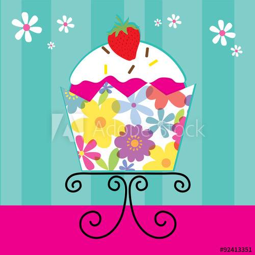 cute cupcake with flowers on cup design vector illustrator.