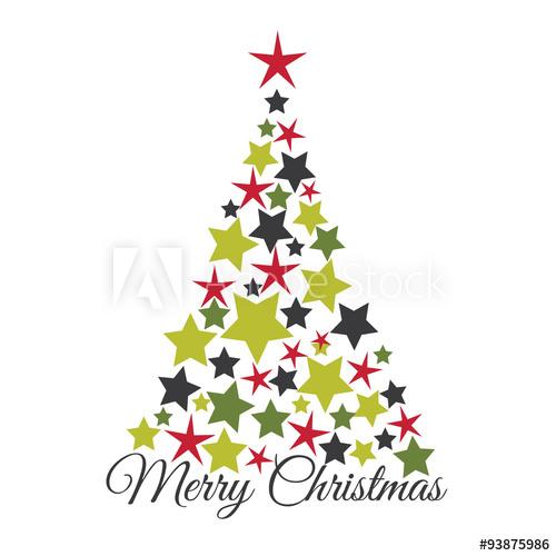 Christmas card with Star on the Christmas tree . EPS 10 & HI.