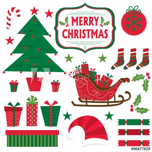 Christmas set with Christmas tree, Present, sleigh, star.