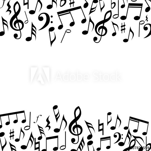 Music square border frame. Music notes and signs background.