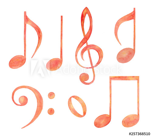 Collection of watercolor music notes..