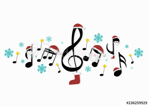 musical notes with Christmas decorations.