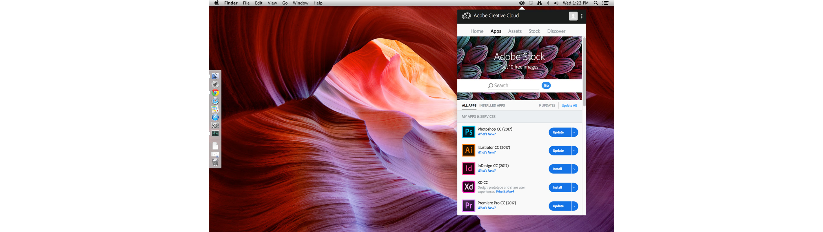 Download Adobe Creative Cloud apps.