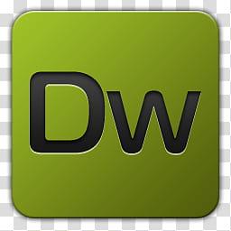 Icon , Adobe Dreamweaver, green DW logo transparent.
