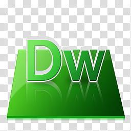 Reflective Adobe Icons, Dreamweaver, DW logo transparent.