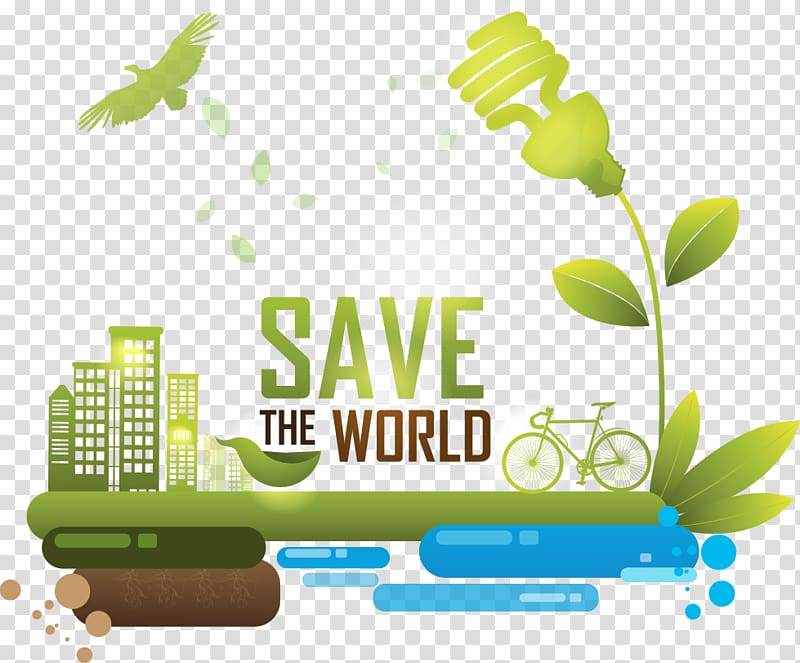 Save the World , Energy conservation Illustration, green.