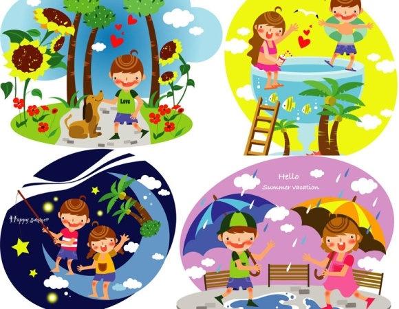 Summer clip art of children 3 Free vector in Adobe.