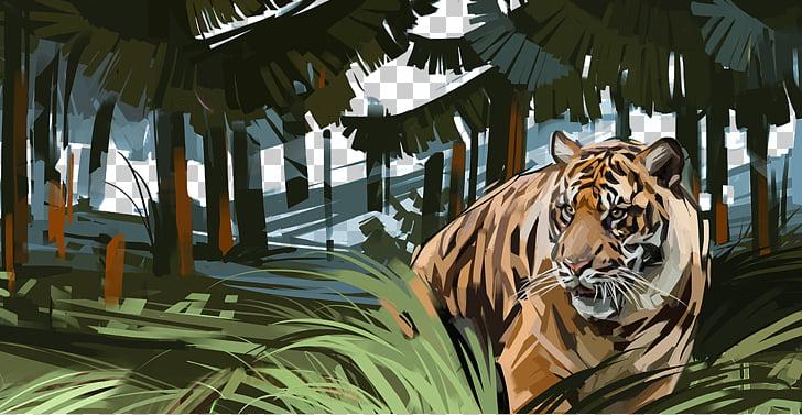 Siberian Tiger Forest Adobe Illustrator, Hand.