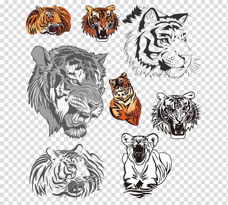 Tiger Euclidean , Hand colored black and white tiger head.