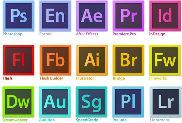 Adobe Creative Suite Family Software Logo Vector Free vector.