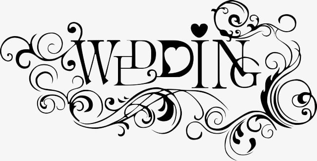 Black Wedding Title, Wedding Clipart, English, Line PNG.